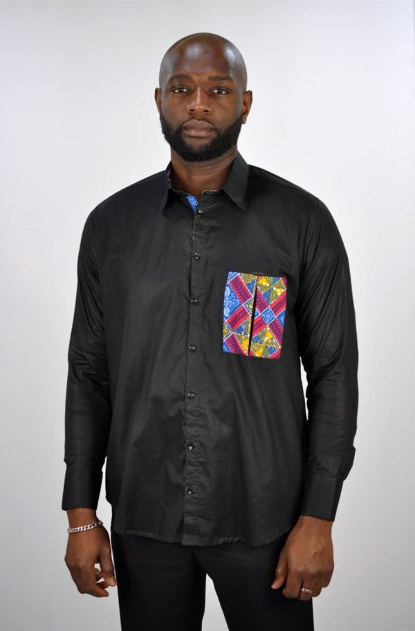 Kente Mixed Print Pocket Smart Casual Black Shirt Polished Cotton