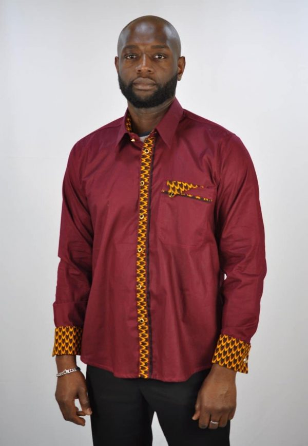 Wine Polished Cotton And Ankara Mix Smart Casual Shirt