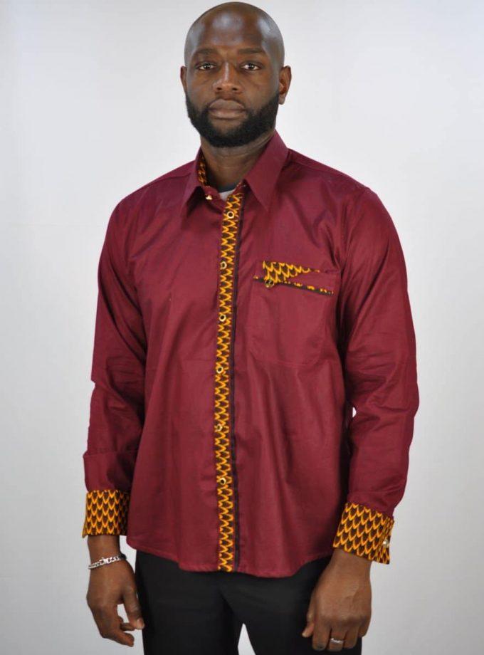 Wine Polished Cotton And Ankara Mix Smart Casual Shirt