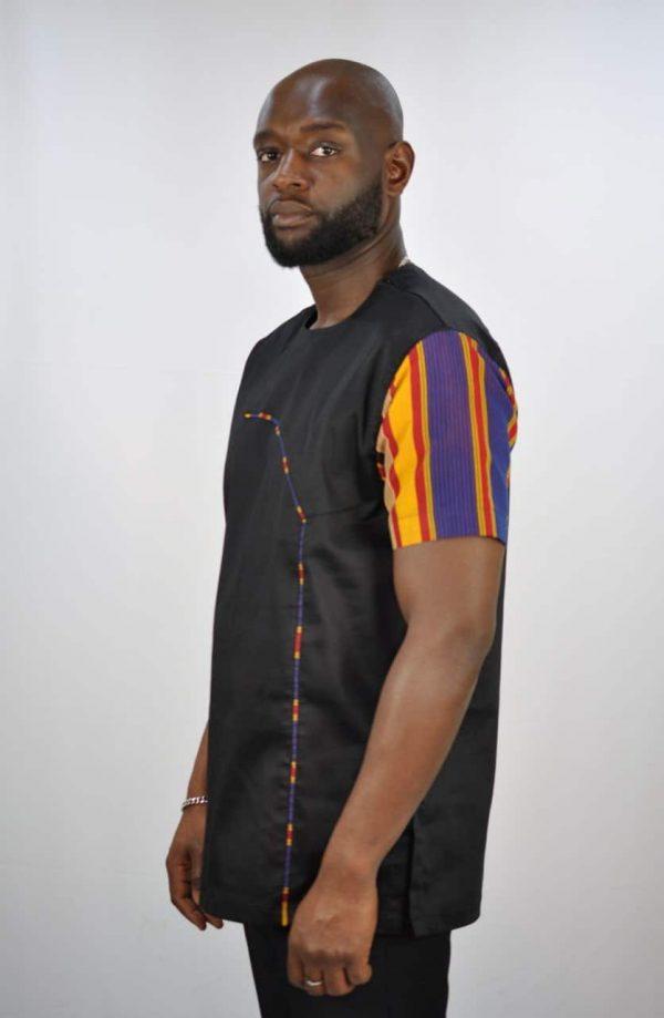 Ugandan Print & Polished Cotton Shirt Side Image