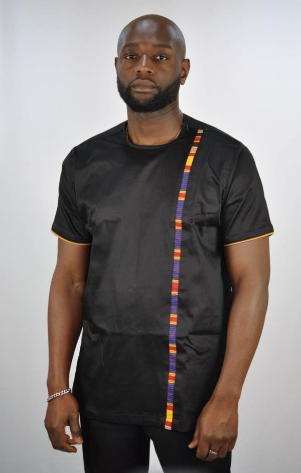 Mens Uganda Mixed Print Shirt Black Polished Cotton