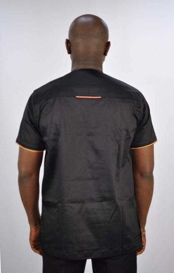 Uganda Mixed Print Black Shirt Back Image
