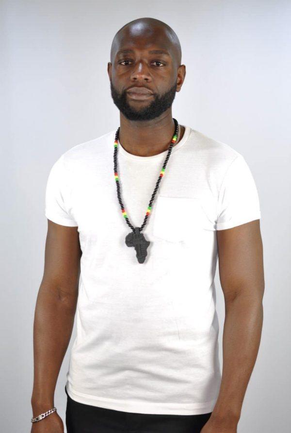 "Africa Shaped Pendant & Multi Coloured 15"" Necklace"