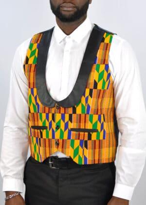 Low Cut African Kente Print Waistcoat