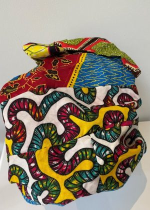 Colourful African Print Bonnet With Belt - Back Image