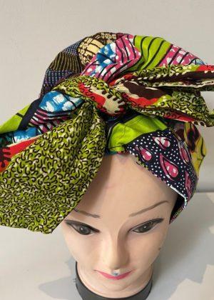 Colourful Ankara Hair Bonnet With Belt