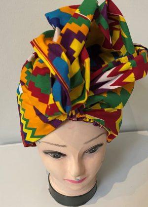African Kente Print Hair Bonnet With Belt