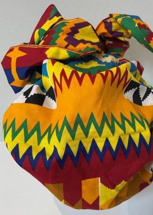 African Kente Print Hair Bonnet With Belt - Back Image