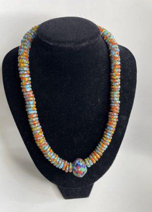 Blue & Orange Glass Bead Necklace Set - Image of Necklace