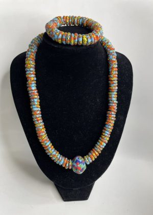 Blue & Orange Glass Bead Necklace Set