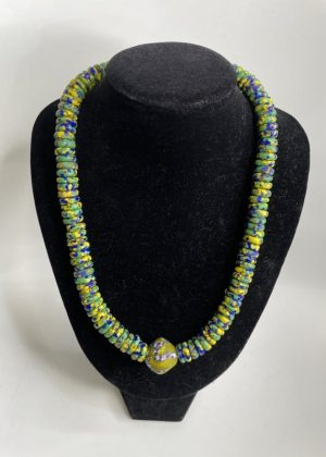 Green & Blue Glass Bead Necklace Set - Image of Necklace
