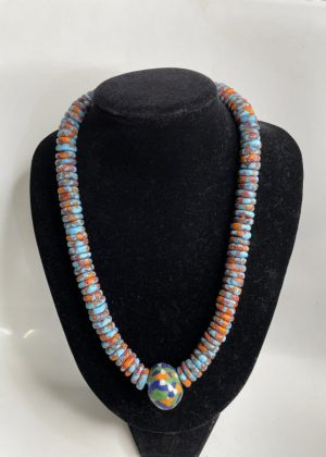 Colourful Glass Bead Necklace Set - Image of Necklace