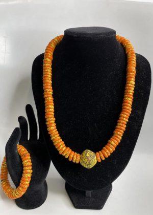 Orange Pattern Glass Bead Necklace Set
