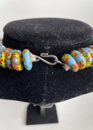 Multi-Coloured Glass Beaded Necklace Set - Image of Hook Fastening