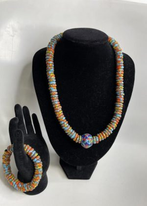 Multi-Coloured Glass Beaded Necklace Set