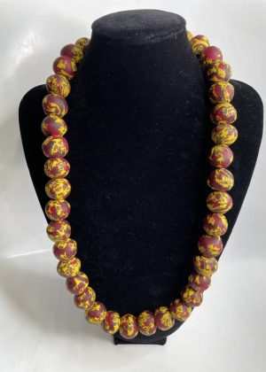 Red & Yellow Glass Beaded Necklace