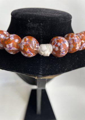 Orange Glass Bead Necklace Close Image