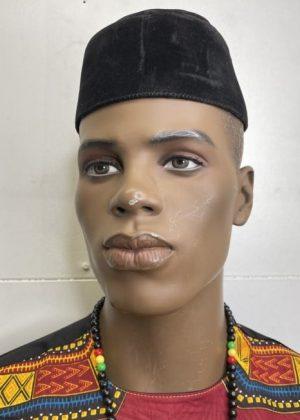 Black Velvet Men's Nigerian Igbo Ozo / Traditional African Native Cap - Image of Front
