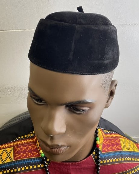 Black Velvet Men's Nigerian Igbo Ozo / Traditional African Native Cap