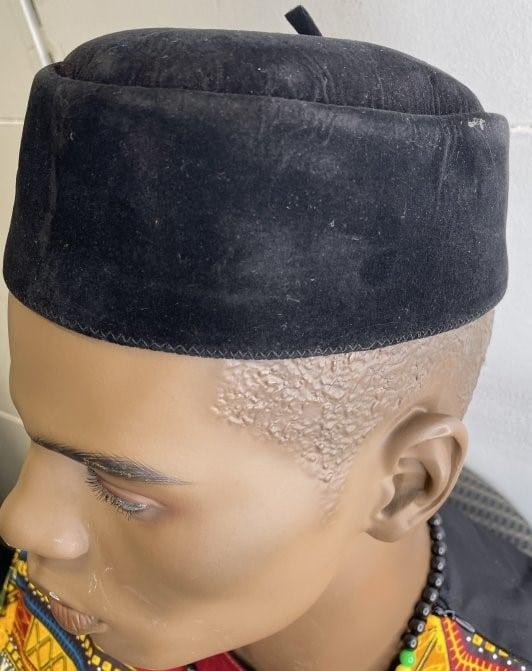 Black Velvet Men's Nigerian Igbo Ozo / Traditional African Native Cap - Image of Side