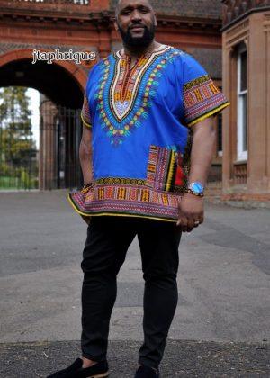 Blue Dashiki Shirt Front Image