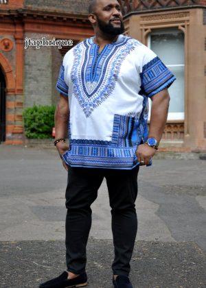 White & Blue Dashiki Shirt