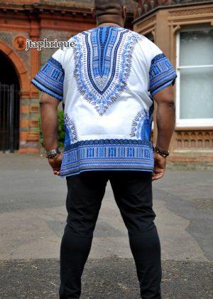 White & Blue Dashiki Shirt Back Image