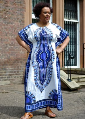 Dashiki Kaftan Maxi Dress White & Blue Front Image