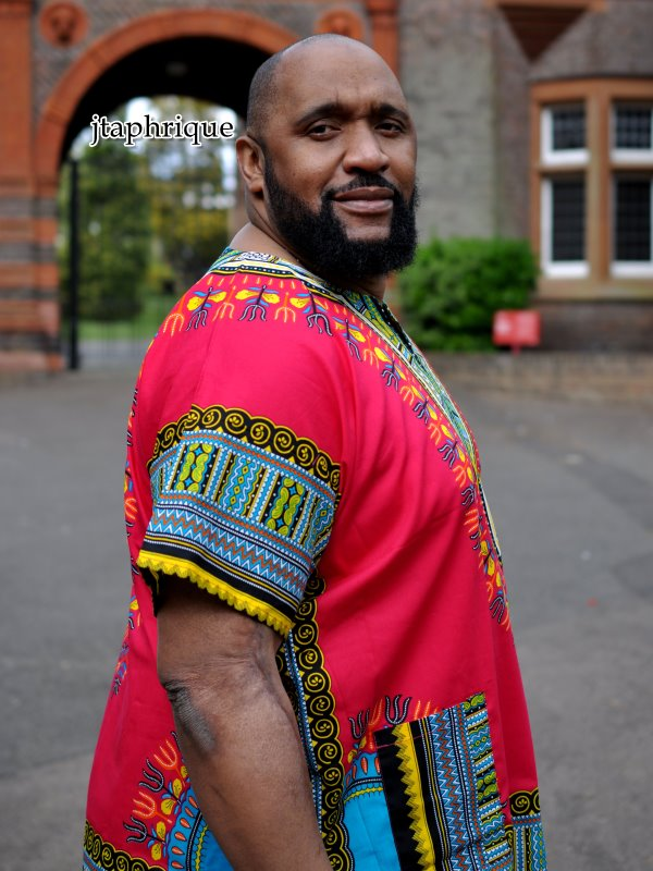 Red & Multi-coloured Dashiki Shirt Side Image