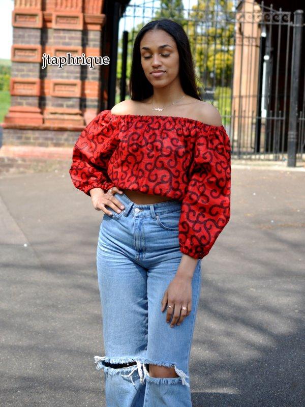 African Print Off Shoulder Crop Top Product Close Image