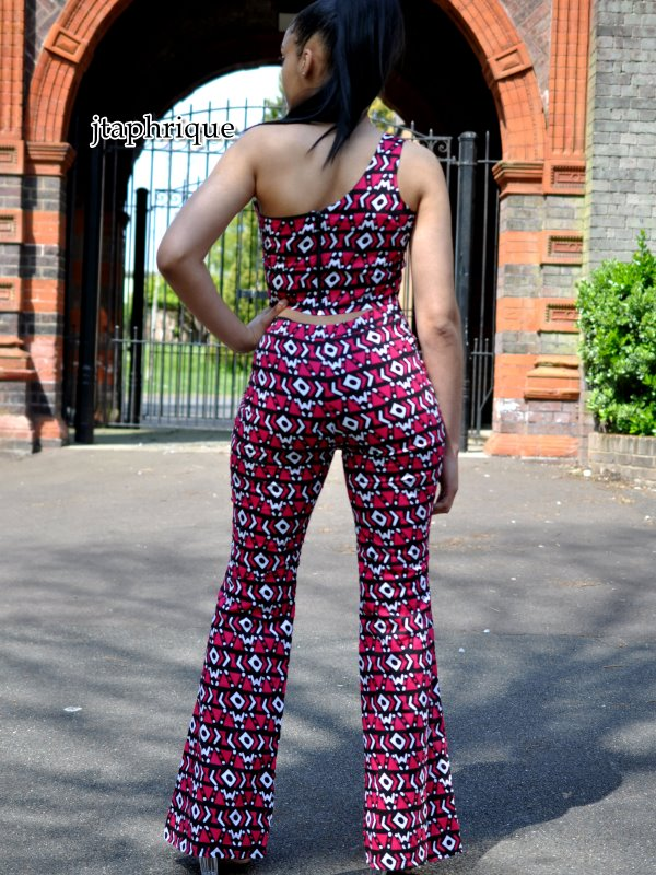 Liquorice One-Shoulder Crop Top & Flare Trousers Set Back Image