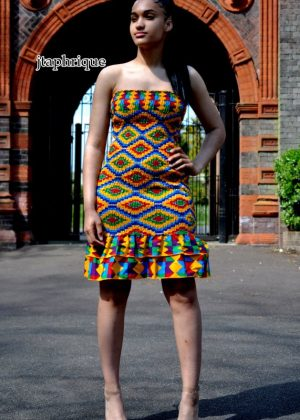 African Print Shirred Bandeau Dress (front image)