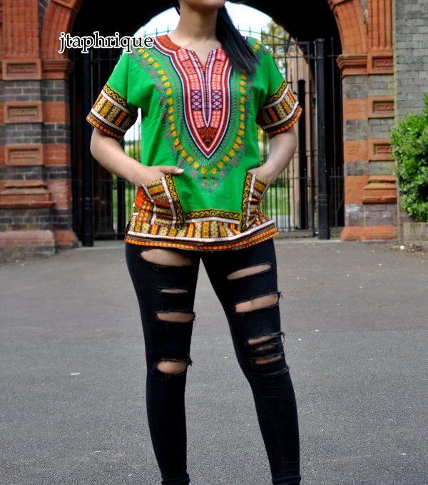 Green Unisex Dashiki Shirt Product Image