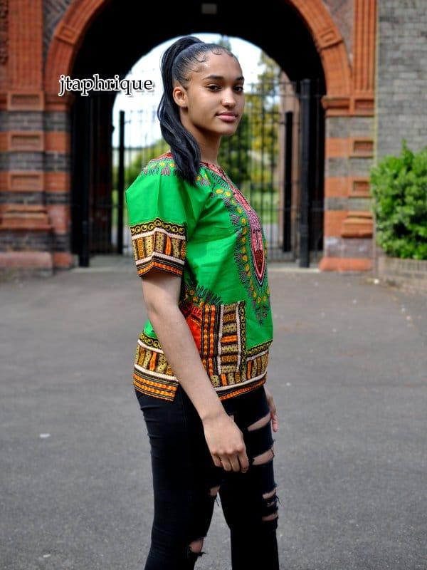 Green Unisex Dashiki Shirt Side Image