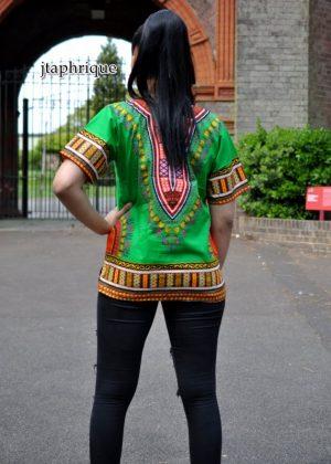 Green Unisex Dashiki Shirt Back Image