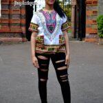 White & Pink Unisex Dashiki Shirt Product Image
