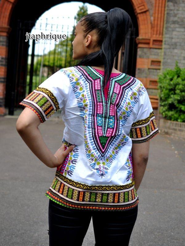 White & Pink Unisex Dashiki Shirt Back Image