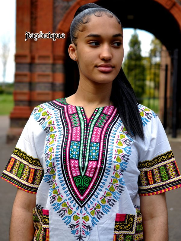 White & Pink Unisex Dashiki Shirt Front Closeup Image