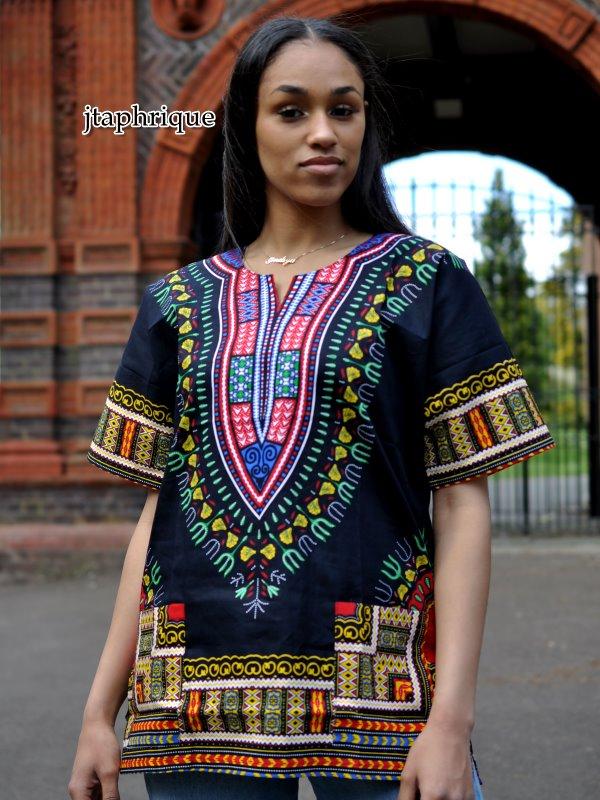 Black Unisex Dashiki Shirt Product Image