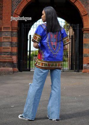 Women's Blue Dashiki Shirt Back Image