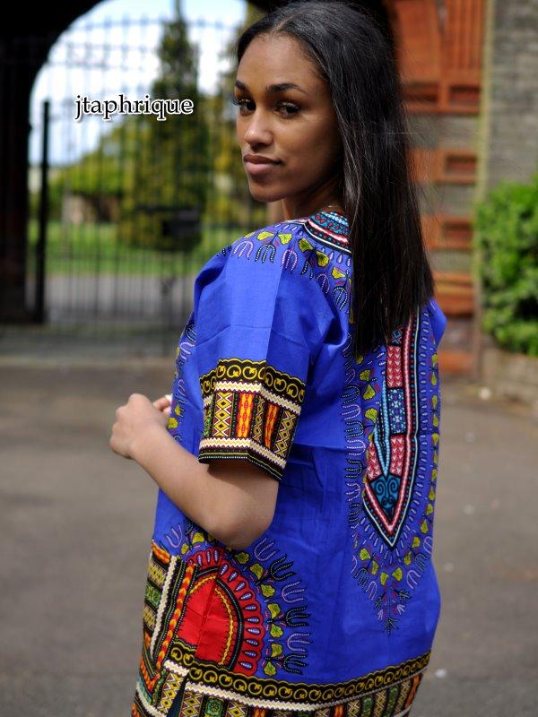 Women's Blue Dashiki Shirt Side Image