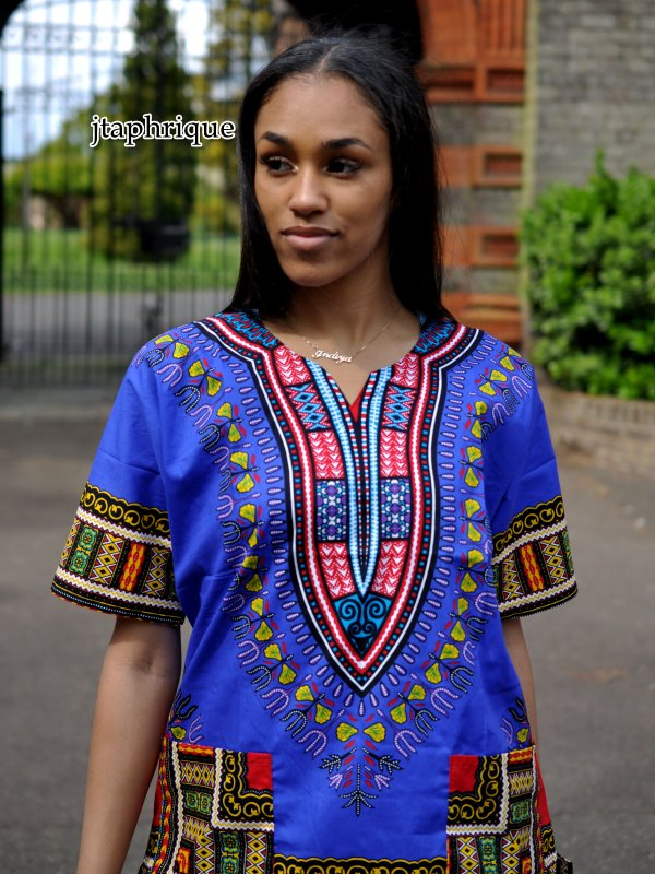 Women's Blue Dashiki Shirt from African Clothing Store. Product Image SKU: 18415