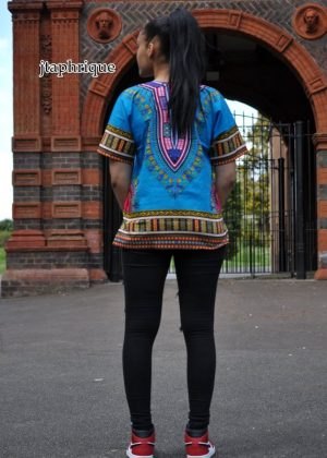 Turquoise Blue Unisex Dashiki Shirt Back Image