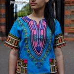 Turquoise Blue Unisex Dashiki Shirt Product Image