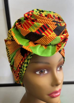 Orange Multi-Coloured African Print Knot Head Wrap Turban