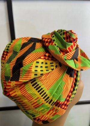 Orange Multi-Coloured African Print Knot Head Wrap Turban Side Image
