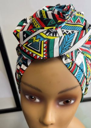 Blue Multi-Coloured Ankara Knot Head Wrap Turban