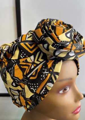 Yellow & Black African Print Knot Head Wrap Turban