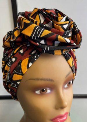 Yellow & Brown African Print Knot Head Wrap Turban