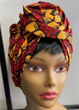 Red & Yellow African Print Knot Head Wrap Turban Front Image